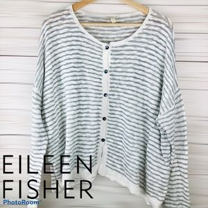 Eileen Fisher Boxy Cotton Cardigan Sweater Large